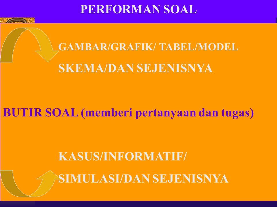 PERFORMAN SOAL GAMBAR/GRAFIK/ TABEL/MODEL SKEMA/DAN SEJENISNYA BUTIR SOAL (memberi pertanyaan dan tugas) KASUS/INFORMATIF/ SIMULASI/DAN SEJENISNYA