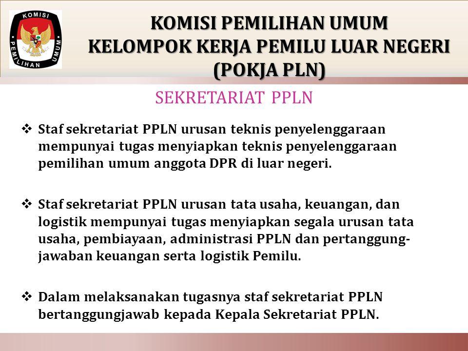  Staf sekretariat PPLN urusan teknis penyelenggaraan mempunyai tugas menyiapkan teknis penyelenggaraan pemilihan umum anggota DPR di luar negeri.