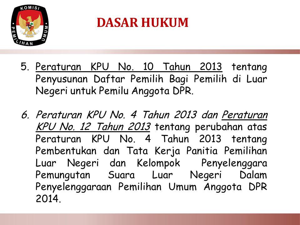 DASAR HUKUM 5.Peraturan KPU No.
