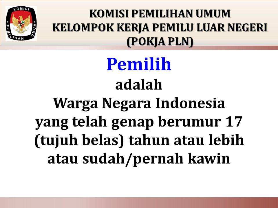 PEMBENTUKAN KOMISI PEMILIHAN UMUM KELOMPOK KERJA PEMILU LUAR NEGERI (POKJA PLN)  PPLN dibentuk oleh KPU  PPLN dibentuk disetiap Perwakilan RI untuk melaksanakan Pemilu anggota DPR (daerah pemilihan Daerah Khusus Ibukota Jakarta II meliputi Kotamadya Jakarta Pusat dan Kotamadya Jakarta Selatan)  PPLN membentuk KPPSLN
