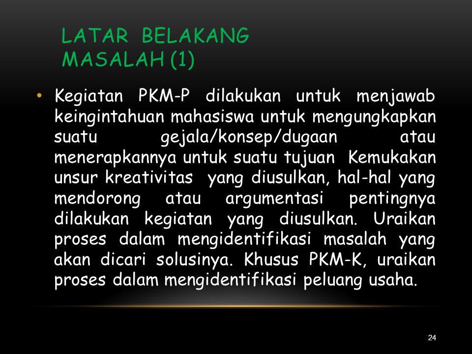 JUDUL 23 • Judul kegiatan PKM hendaklah singkat dan spesifik, tetapi cukup jelas memberi gambaran mengenai kegiatan PKM yang diusulkan