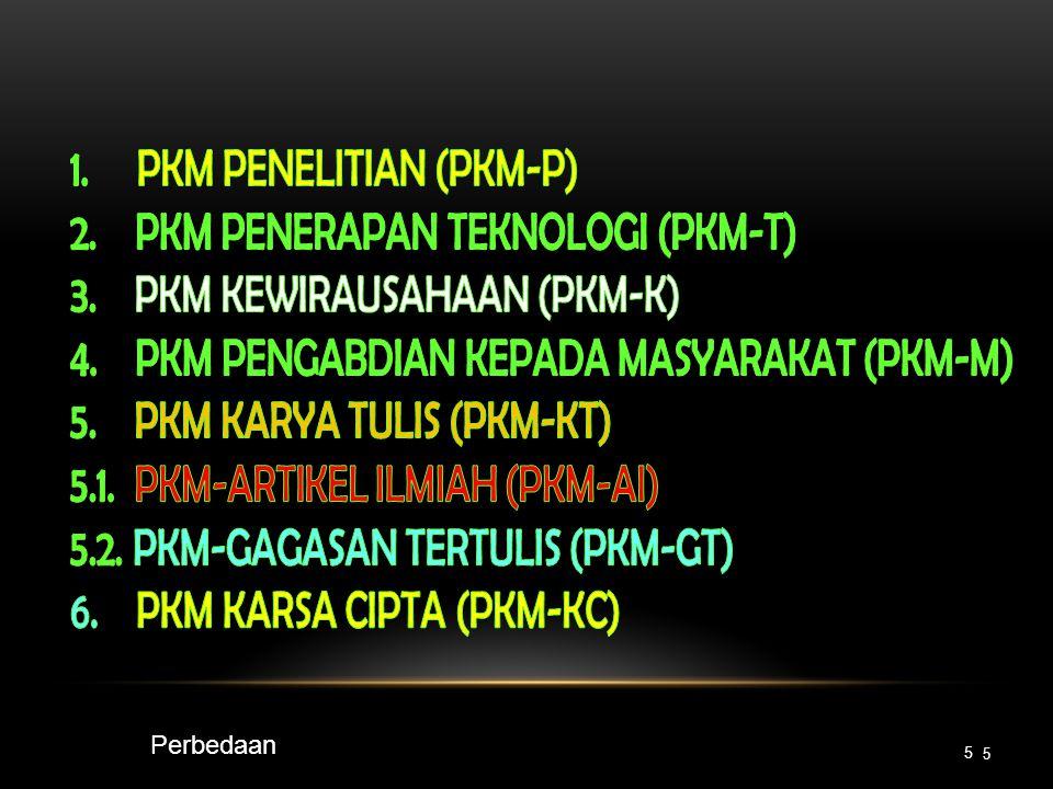 • PKMP dapat menghasilkan teknologi baru • PKMT: menciptakan suatu karya teknologi • Pada PKMT tidak ada lagi penelitian karena teknologi sudah tersedia Beda PKMP dan PKMT