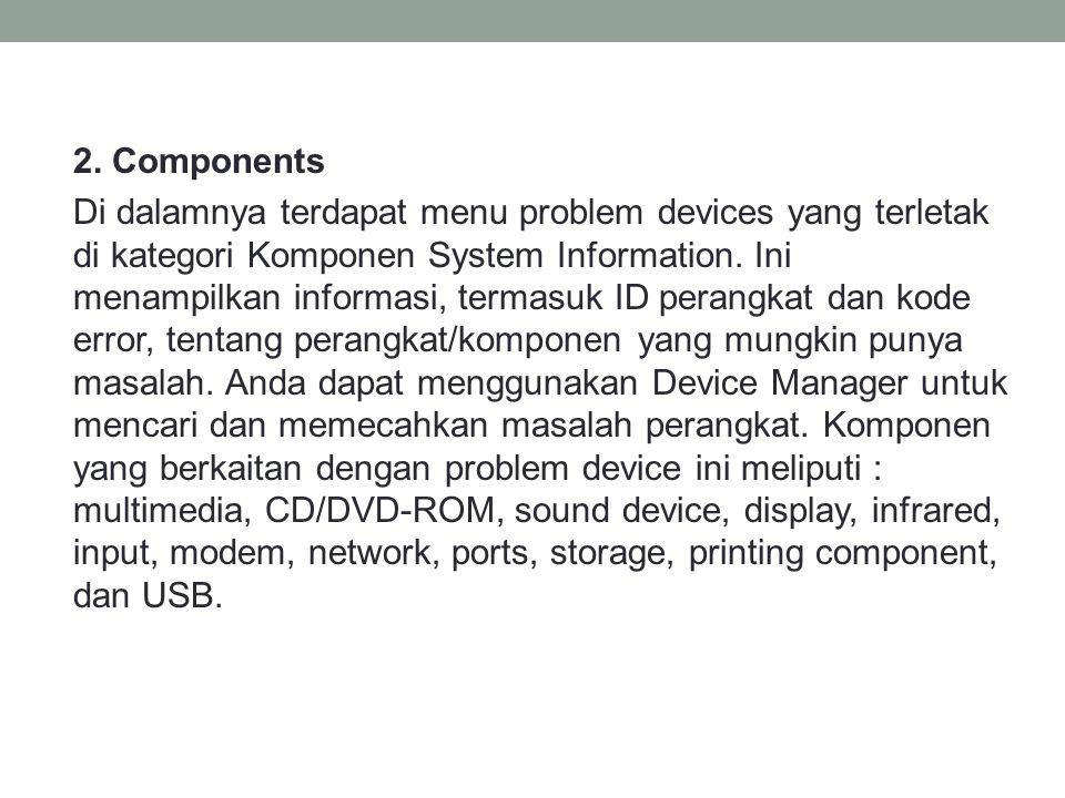 2. Components Di dalamnya terdapat menu problem devices yang terletak di kategori Komponen System Information. Ini menampilkan informasi, termasuk ID