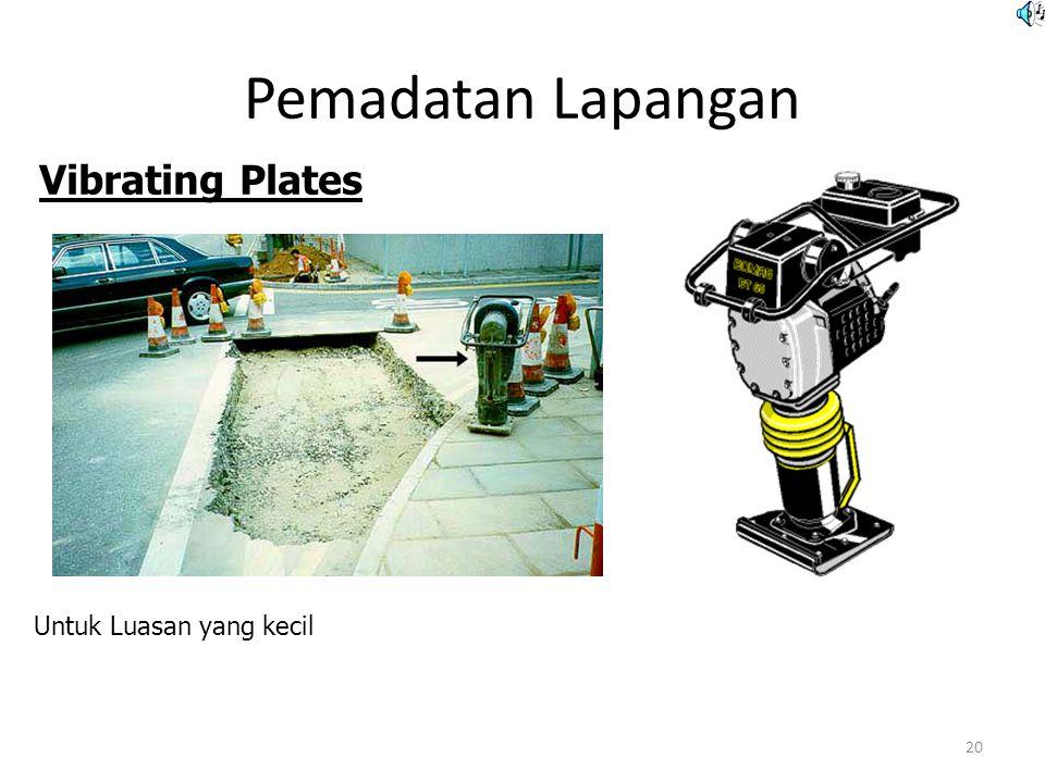 Pemadatan Lapangan 20 Untuk Luasan yang kecil Vibrating Plates  Untuk tanah granular