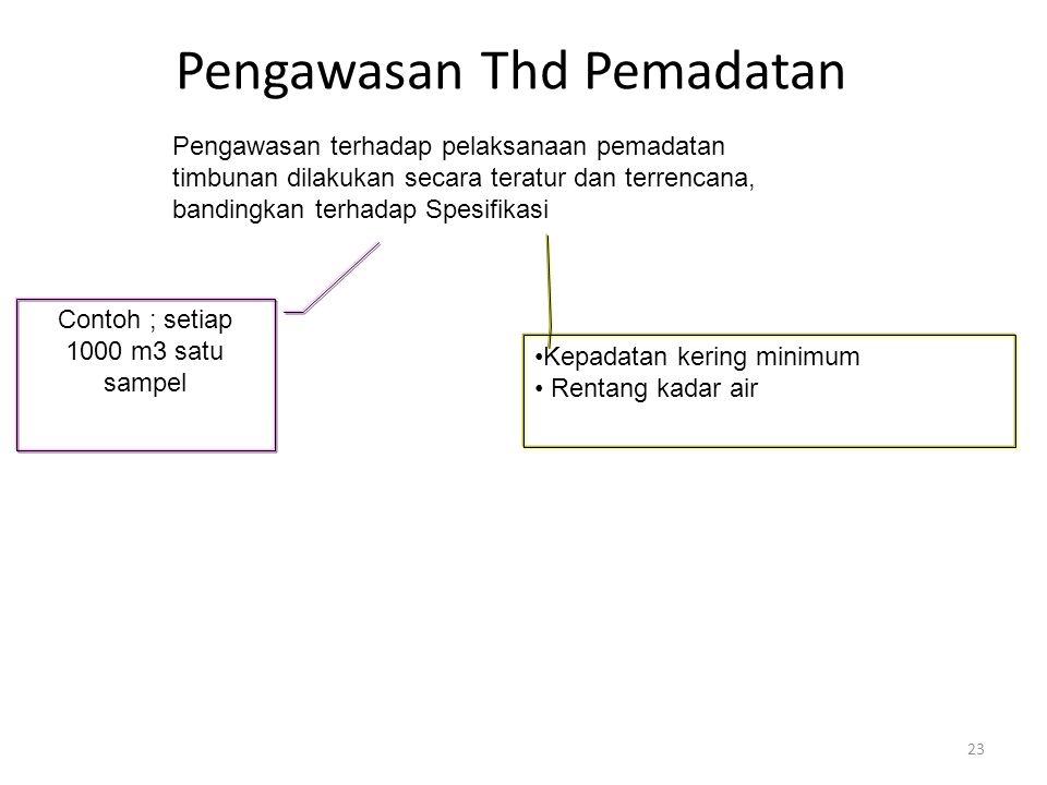 Pengawasan Thd Pemadatan 23 Pengawasan terhadap pelaksanaan pemadatan timbunan dilakukan secara teratur dan terrencana, bandingkan terhadap Spesifikas