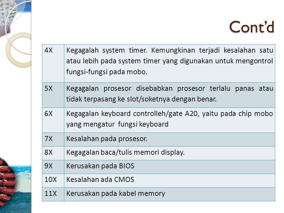 Cont'd 4X Kegagalah system timer. Kemungkinan terjadi kesalahan satu atau lebih pada system timer yang digunakan untuk mengontrol fungsi-fungsi pada m