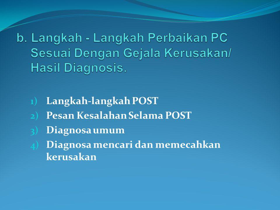 1) Langkah-langkah POST 2) Pesan Kesalahan Selama POST 3) Diagnosa umum 4) Diagnosa mencari dan memecahkan kerusakan