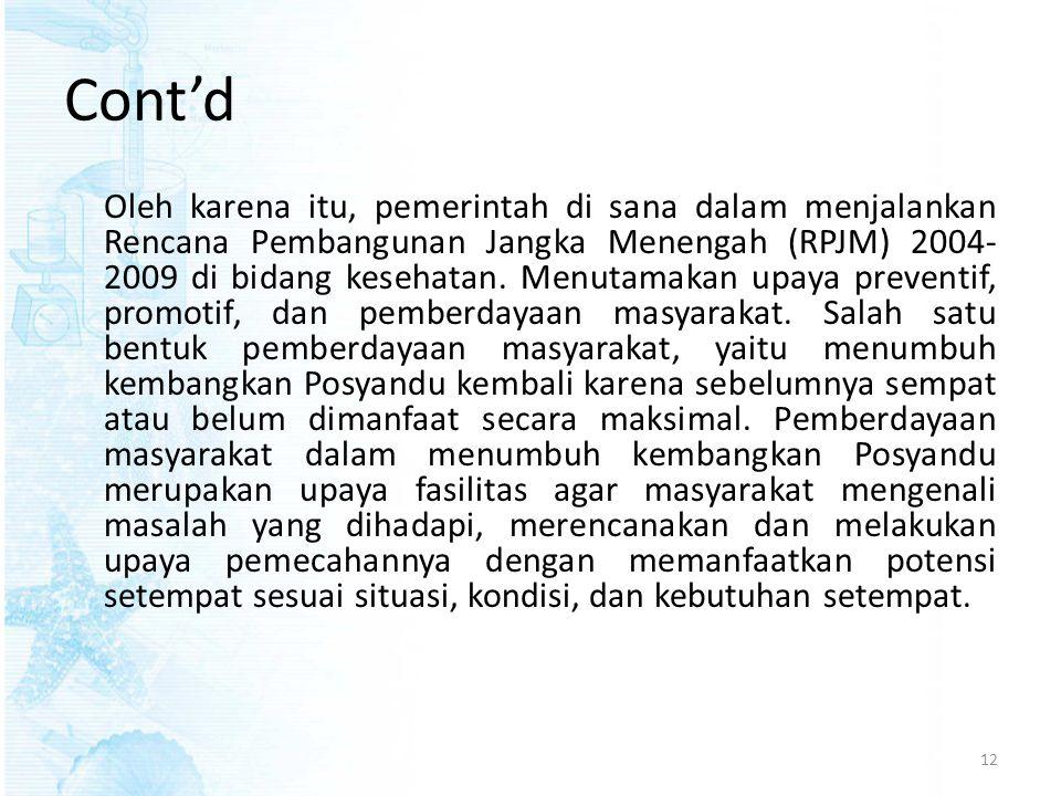 Cont'd Oleh karena itu, pemerintah di sana dalam menjalankan Rencana Pembangunan Jangka Menengah (RPJM) 2004- 2009 di bidang kesehatan. Menutamakan up