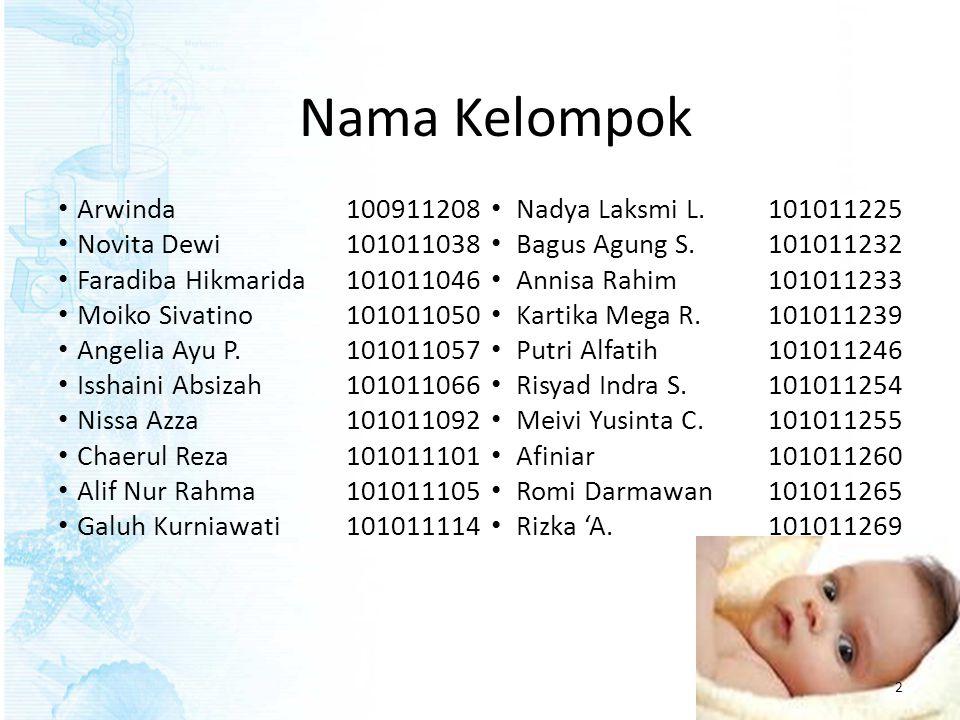 Nama Kelompok • Arwinda100911208 • Novita Dewi101011038 • Faradiba Hikmarida101011046 • Moiko Sivatino 101011050 • Angelia Ayu P.101011057 • Isshaini