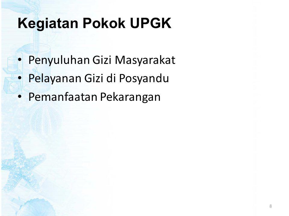 Faktor yang mempengaruhi UPGK • Cakupan pelayanan kegiatan UPGK • Sarana penunjang UPGK • Kuantitas dan kualitas petugas Gizi • Kerja sama lintas sektoral dan lintas program • Kurangnya pengertian masyarakat 9