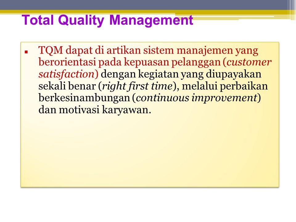 Total Quality Management  TQM dapat di artikan sistem manajemen yang berorientasi pada kepuasan pelanggan (customer satisfaction) dengan kegiatan yang diupayakan sekali benar (right first time), melalui perbaikan berkesinambungan (continuous improvement) dan motivasi karyawan.
