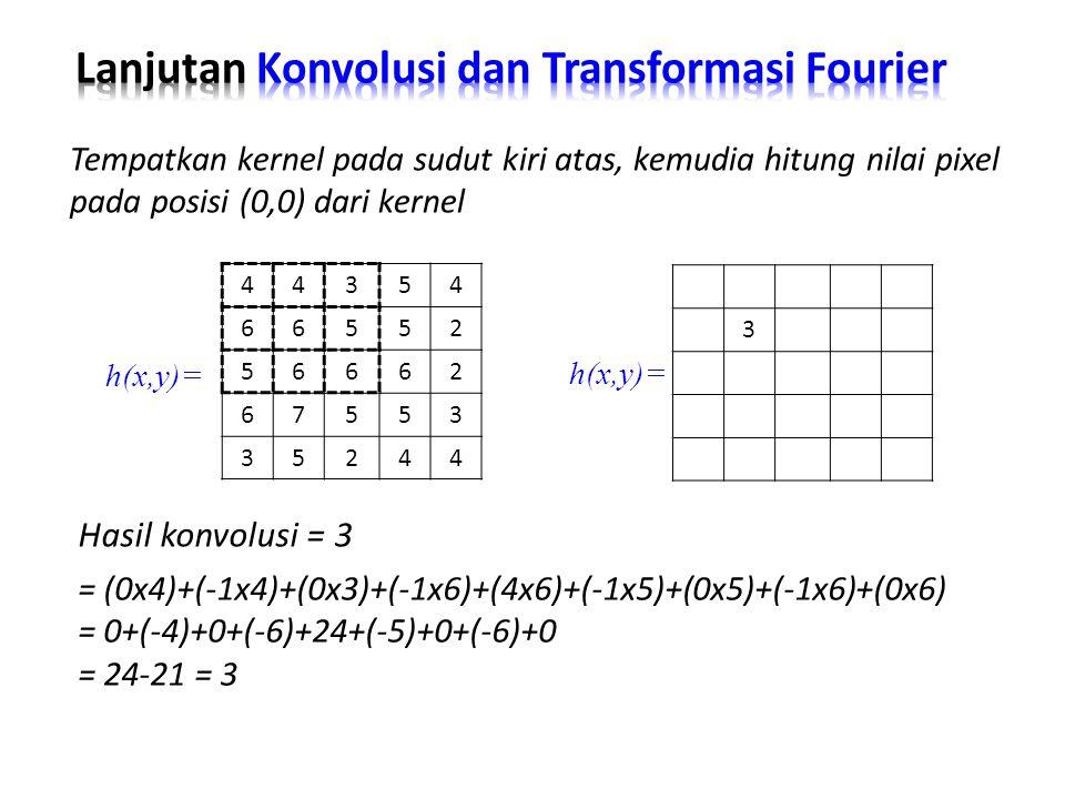 Hasil konvolusi = 3 Tempatkan kernel pada sudut kiri atas, kemudia hitung nilai pixel pada posisi (0,0) dari kernel = (0x4)+(-1x4)+(0x3)+(-1x6)+(4x6)+