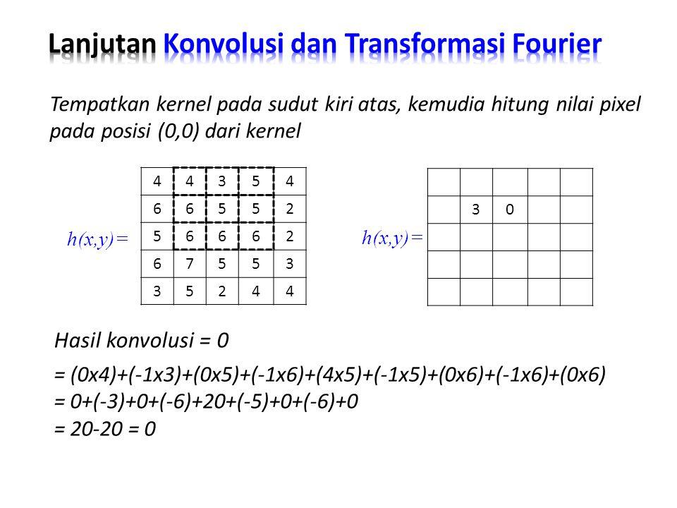 Hasil konvolusi = 0 Tempatkan kernel pada sudut kiri atas, kemudia hitung nilai pixel pada posisi (0,0) dari kernel = (0x4)+(-1x3)+(0x5)+(-1x6)+(4x5)+