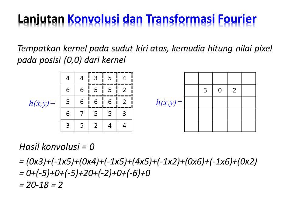 Hasil konvolusi = 0 Tempatkan kernel pada sudut kiri atas, kemudia hitung nilai pixel pada posisi (0,0) dari kernel = (0x3)+(-1x5)+(0x4)+(-1x5)+(4x5)+