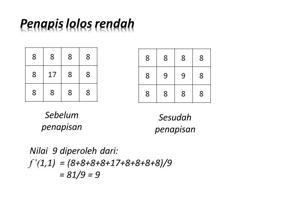 Sebelum penapisan 8888 81788 8888 8888 8998 8888 Sesudah penapisan Nilai 9 diperoleh dari: f'( 1,1) = (8+8+8+8+17+8+8+8+8)/9 = 81/9 = 9