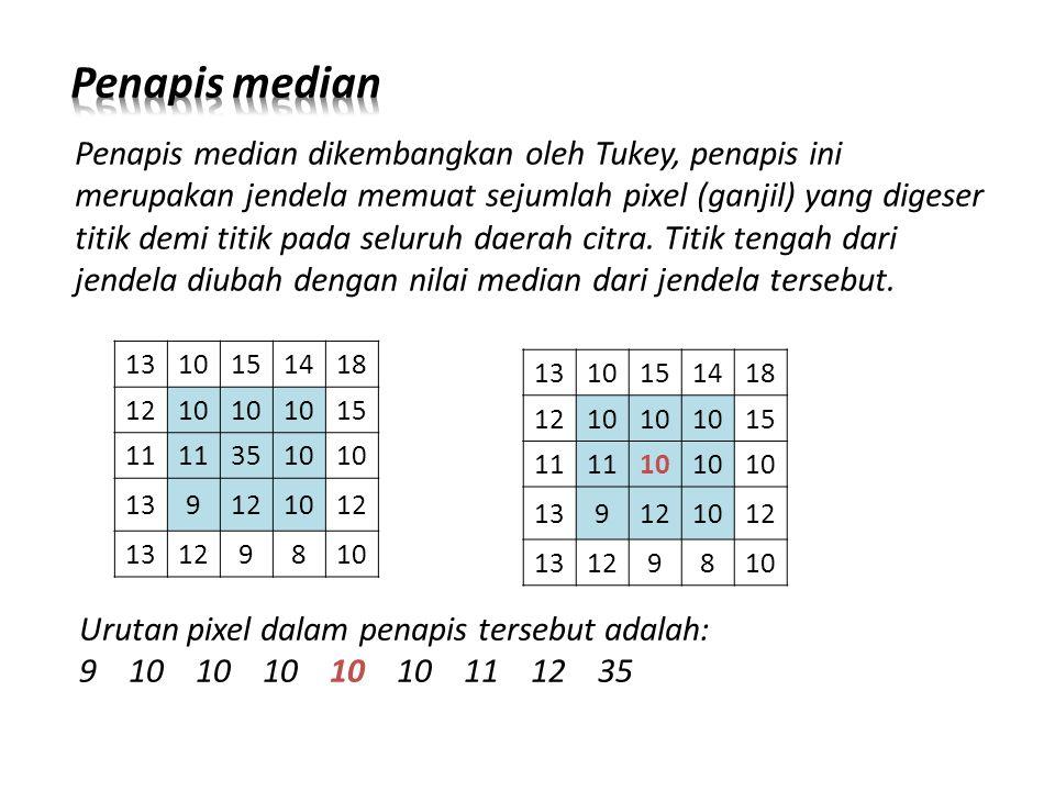 Penapis median dikembangkan oleh Tukey, penapis ini merupakan jendela memuat sejumlah pixel (ganjil) yang digeser titik demi titik pada seluruh daerah