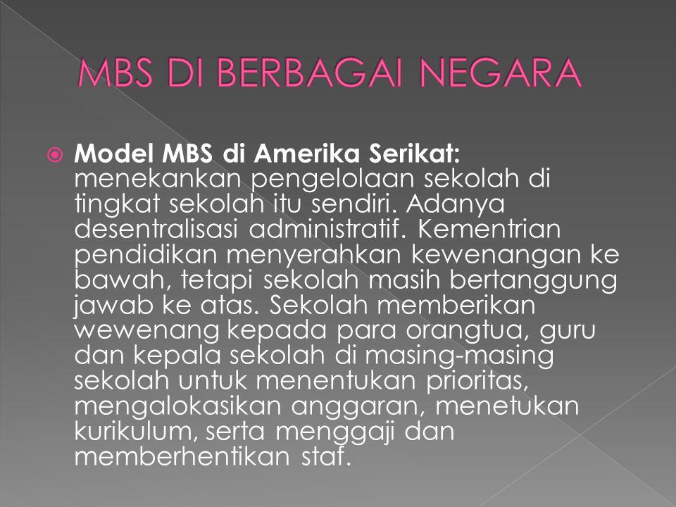  Model MBS di Australia: ada tiga perubahan mendasar pada pengelolaan sekolah dengan menggunakan model MBS di Australia.