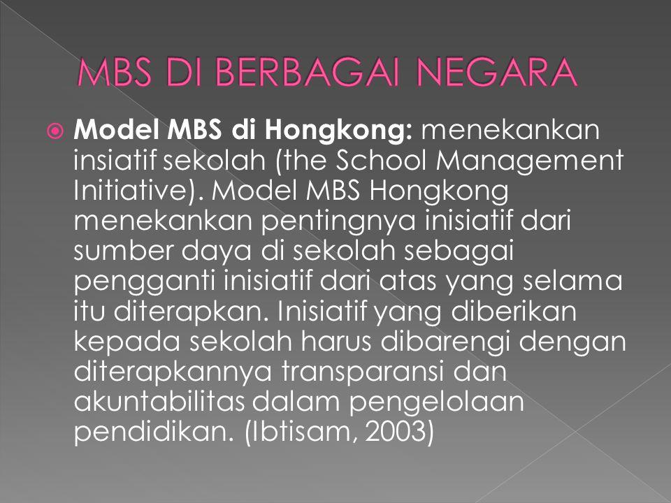  Model MBS di Kanada: menekankan pengambilan keputusan pada tingkat sekolah (School-Site Decision Making).