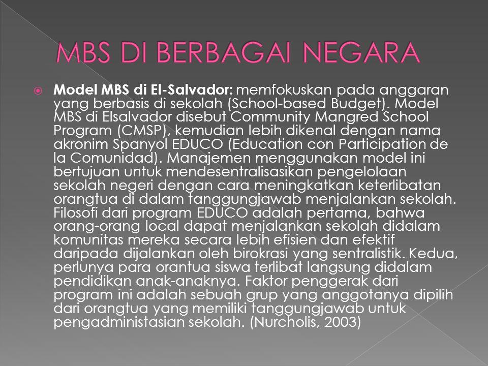 Model MBS di Indonesia: Model ini dikenal dengan istilah Manajemen Peningkatan Mutu Berbasis Sekolah (MPMBS).