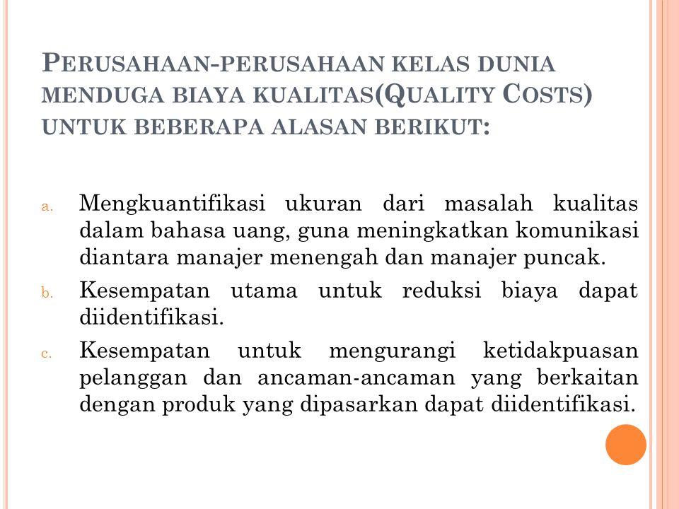 P ERUSAHAAN - PERUSAHAAN KELAS DUNIA MENDUGA BIAYA KUALITAS (Q UALITY C OSTS ) UNTUK BEBERAPA ALASAN BERIKUT : a.