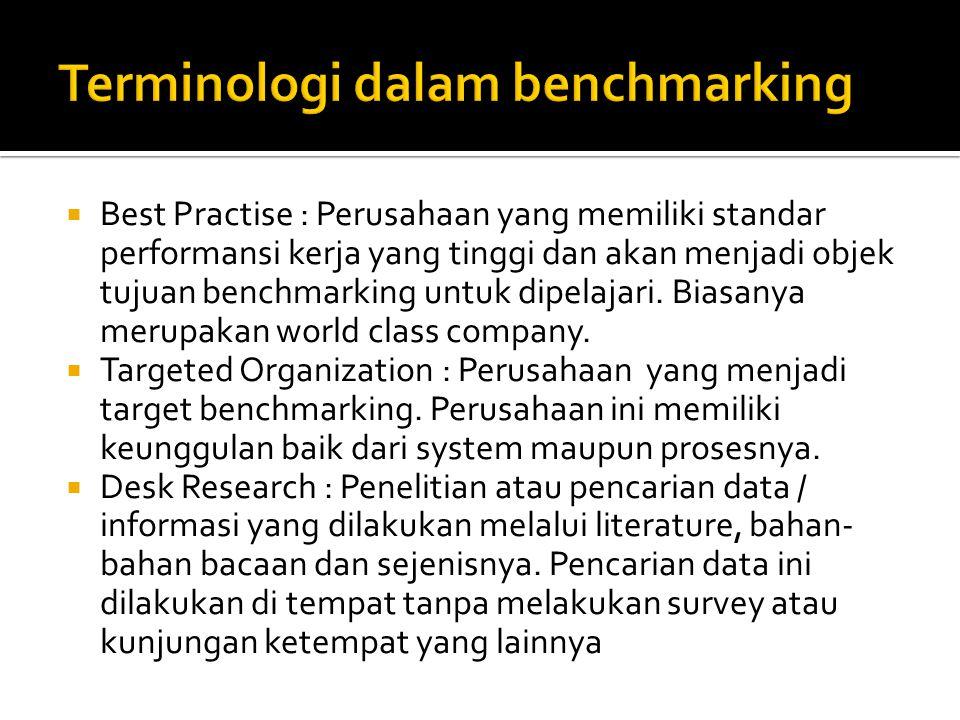  Best Practise : Perusahaan yang memiliki standar performansi kerja yang tinggi dan akan menjadi objek tujuan benchmarking untuk dipelajari. Biasanya