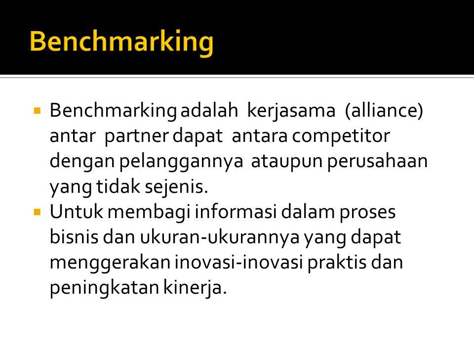  Benchmarking adalah kerjasama (alliance) antar partner dapat antara competitor dengan pelanggannya ataupun perusahaan yang tidak sejenis.  Untuk me