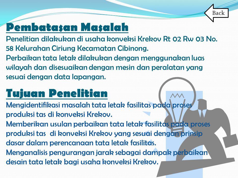 Pembatasan Masalah Penelitian dilakukan di usaha konveksi Krekov Rt 02 Rw 03 No. 58 Kelurahan Ciriung Kecamatan Cibinong. Perbaikan tata letak dilakuk