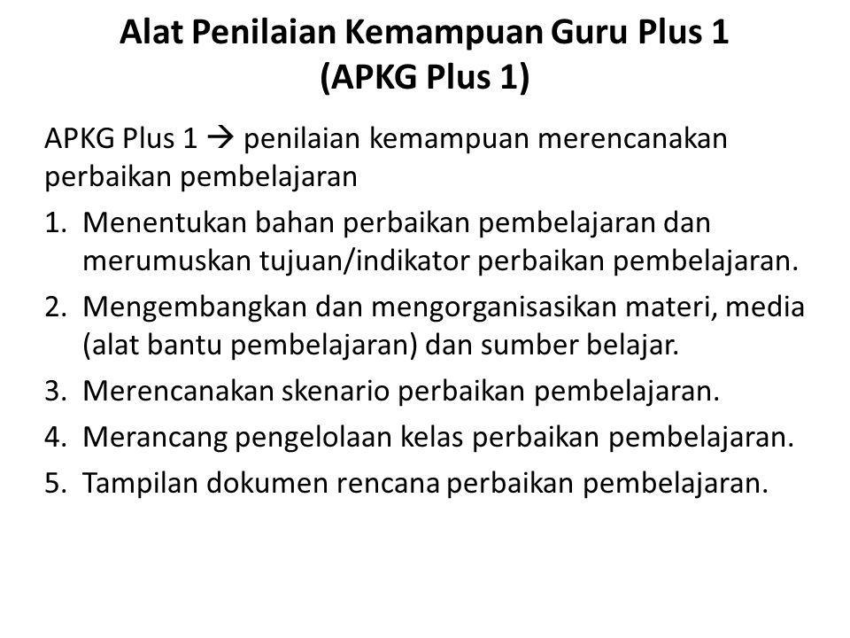 Alat Penilaian Kemampuan Guru Plus 1 (APKG Plus 1) APKG Plus 1  penilaian kemampuan merencanakan perbaikan pembelajaran 1.Menentukan bahan perbaikan pembelajaran dan merumuskan tujuan/indikator perbaikan pembelajaran.