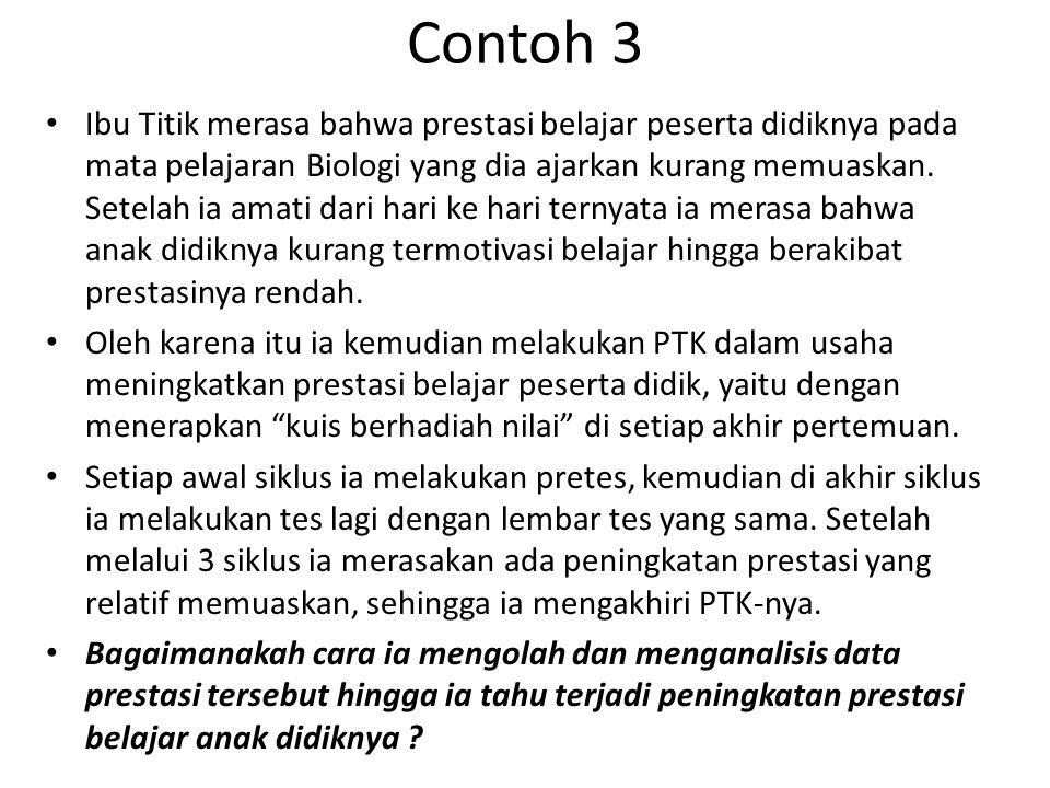 Contoh 3 • Ibu Titik merasa bahwa prestasi belajar peserta didiknya pada mata pelajaran Biologi yang dia ajarkan kurang memuaskan.
