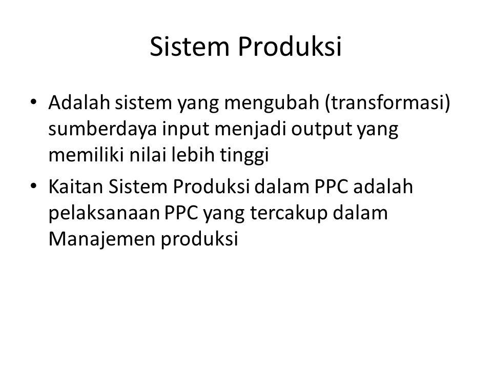Sistem Produksi • Adalah sistem yang mengubah (transformasi) sumberdaya input menjadi output yang memiliki nilai lebih tinggi • Kaitan Sistem Produksi