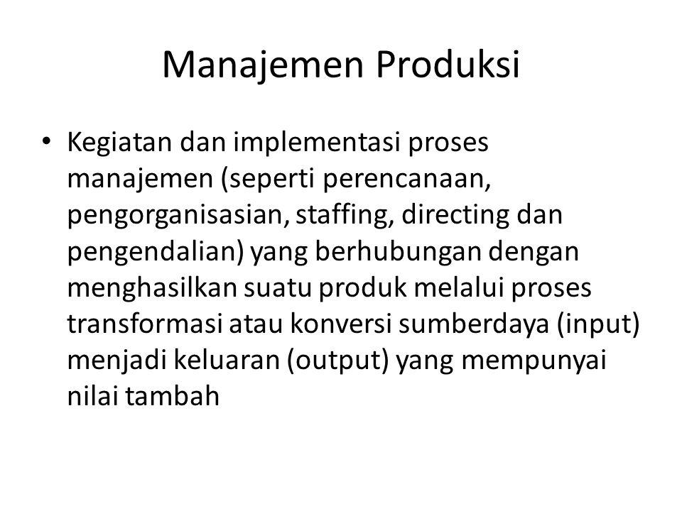 Manajemen Produksi • Kegiatan dan implementasi proses manajemen (seperti perencanaan, pengorganisasian, staffing, directing dan pengendalian) yang ber
