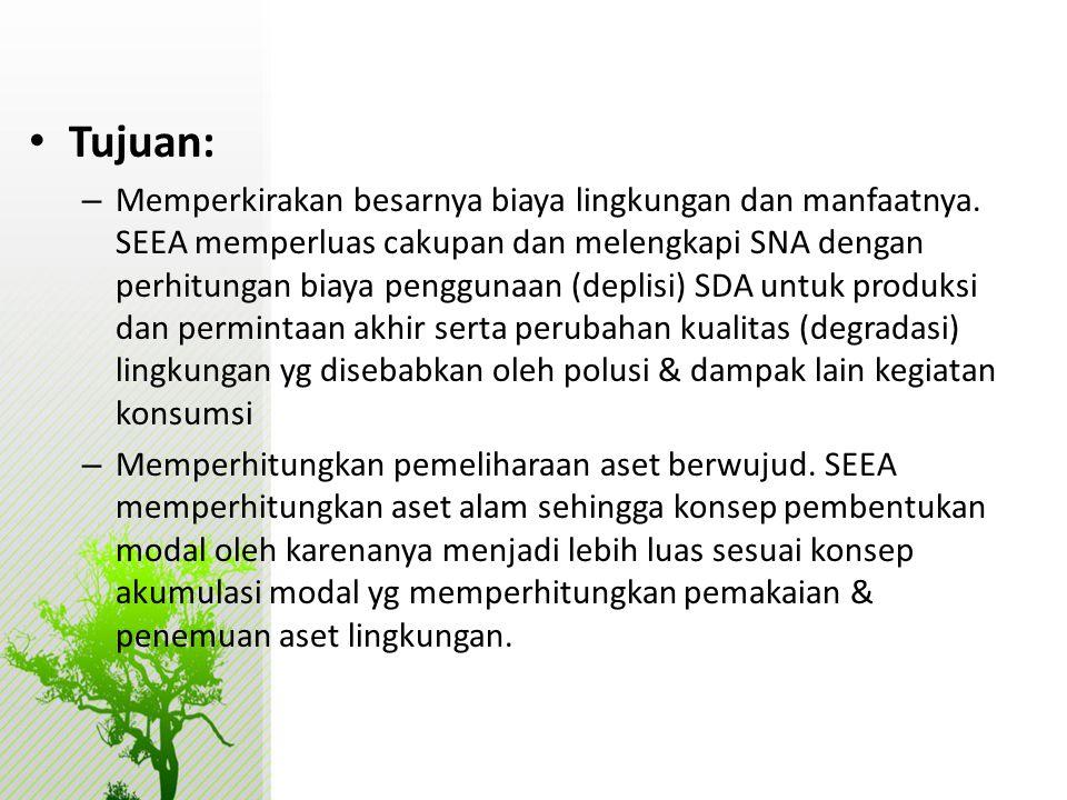 • Tujuan: – Memperkirakan besarnya biaya lingkungan dan manfaatnya. SEEA memperluas cakupan dan melengkapi SNA dengan perhitungan biaya penggunaan (de