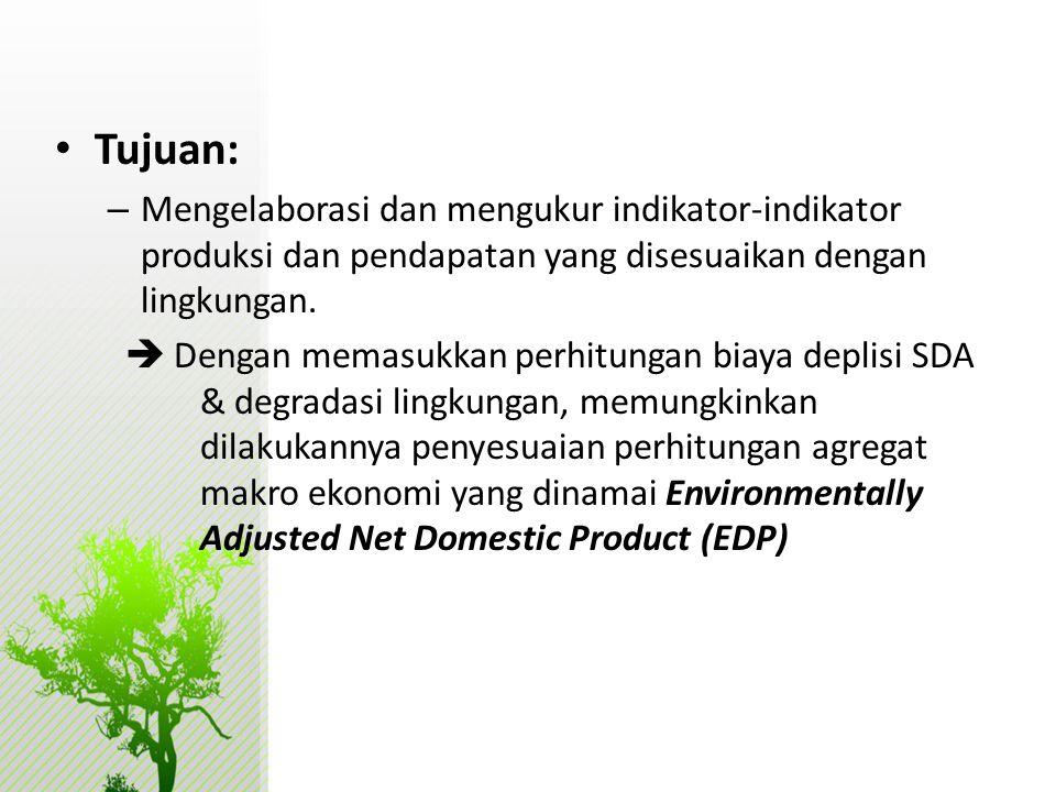 • Tujuan: – Mengelaborasi dan mengukur indikator-indikator produksi dan pendapatan yang disesuaikan dengan lingkungan.  Dengan memasukkan perhitungan