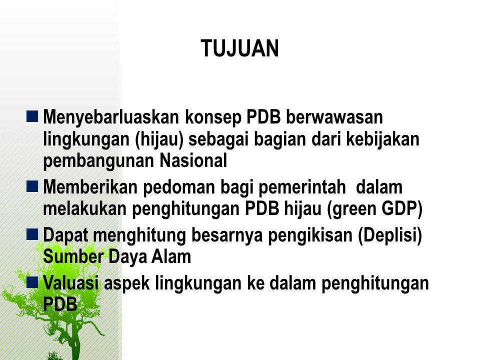 TUJUAN  Menyebarluaskan konsep PDB berwawasan lingkungan (hijau) sebagai bagian dari kebijakan pembangunan Nasional  Memberikan pedoman bagi pemerin
