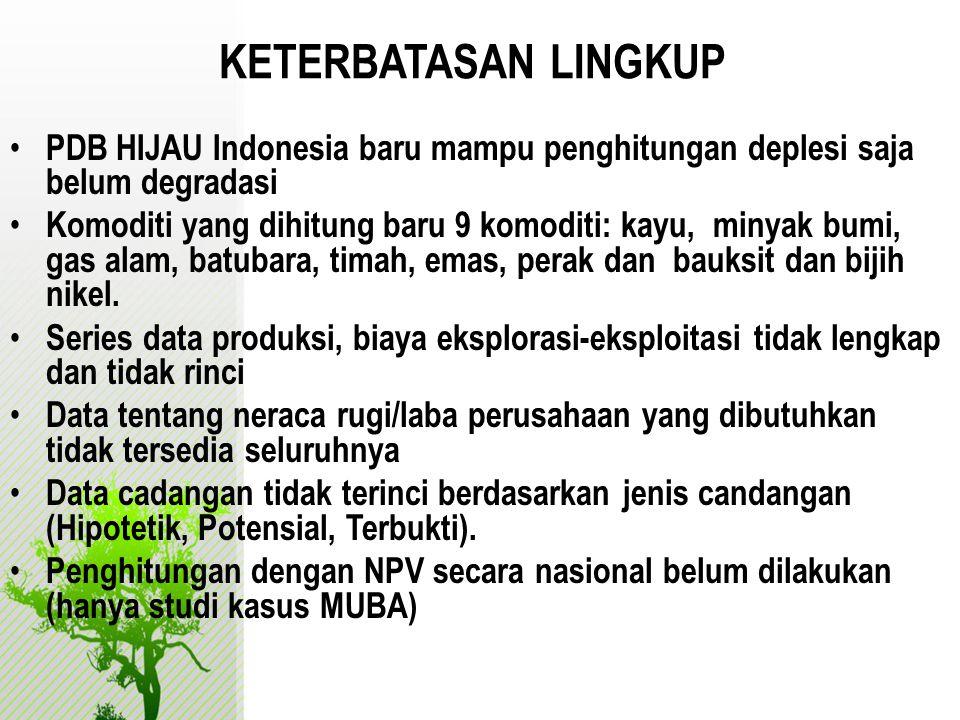 KETERBATASAN LINGKUP • PDB HIJAU Indonesia baru mampu penghitungan deplesi saja belum degradasi • Komoditi yang dihitung baru 9 komoditi: kayu, minyak