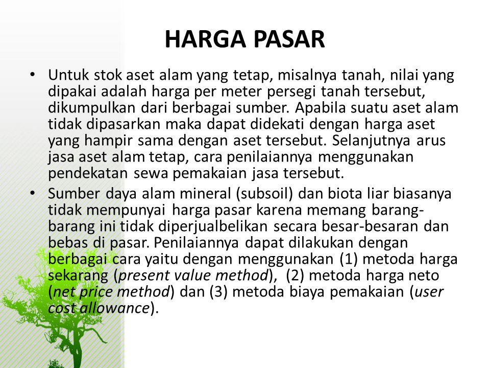 HARGA PASAR • Untuk stok aset alam yang tetap, misalnya tanah, nilai yang dipakai adalah harga per meter persegi tanah tersebut, dikumpulkan dari berb