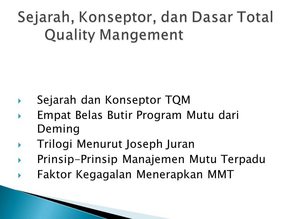  Sejarah dan Konseptor TQM  Empat Belas Butir Program Mutu dari Deming  Trilogi Menurut Joseph Juran  Prinsip-Prinsip Manajemen Mutu Terpadu  Fak