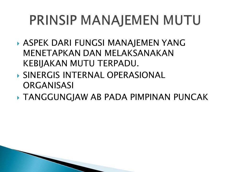 Sebuah pendekatan manajemen yang bertumpu pada total kualitas yang dilakukan secara menyeluruh.