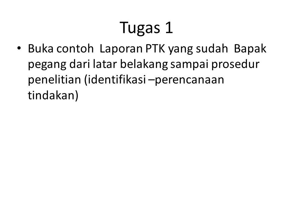 Tugas 1 • Buka contoh Laporan PTK yang sudah Bapak pegang dari latar belakang sampai prosedur penelitian (identifikasi –perencanaan tindakan)