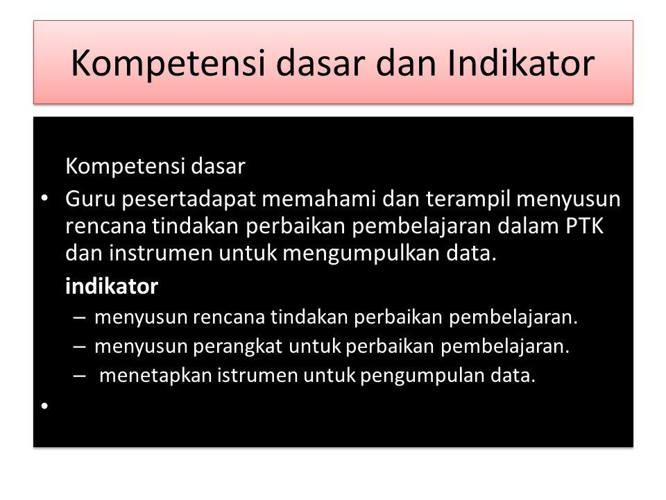 Kompetensi dasar dan Indikator Kompetensi dasar • Guru pesertadapat memahami dan terampil menyusun rencana tindakan perbaikan pembelajaran dalam PTK dan instrumen untuk mengumpulkan data.