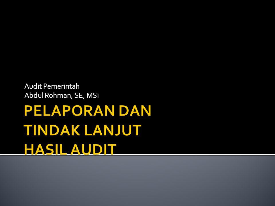 Audit Pemerintah Abdul Rohman, SE, MSi