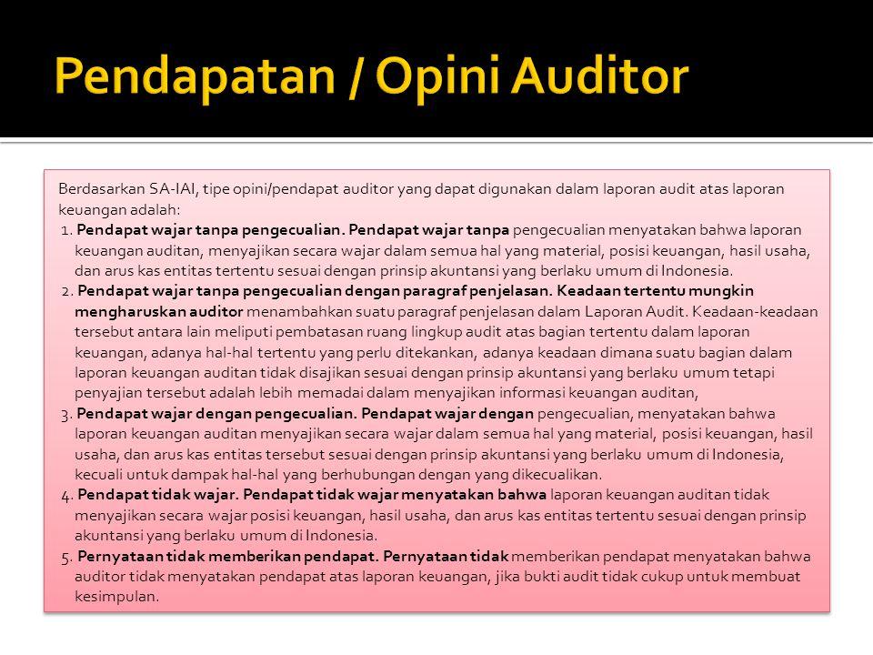 Berdasarkan SA-IAI, tipe opini/pendapat auditor yang dapat digunakan dalam laporan audit atas laporan keuangan adalah: 1.