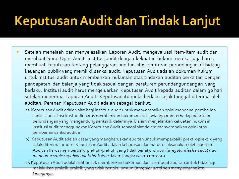 Setelah menelaah dan menyelesaikan Laporan Audit, mengevaluasi item-item audit dan membuat Surat Opini Audit, institusi audit dengan kekuatan hukum mereka juga harus membuat keputusan tentang pelanggaran auditan atas peraturan perundangan di bidang keuangan publik yang memiliki sanksi audit.
