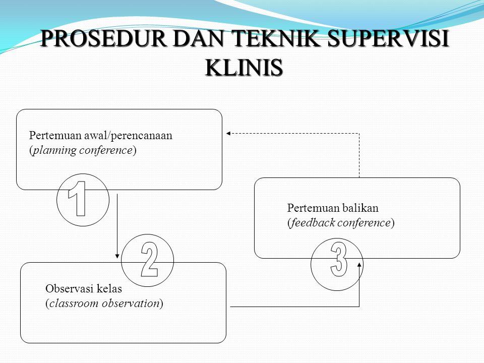PROSEDUR DAN TEKNIK SUPERVISI KLINIS Pertemuan awal/perencanaan (planning conference) Observasi kelas (classroom observation) Pertemuan balikan (feedback conference)
