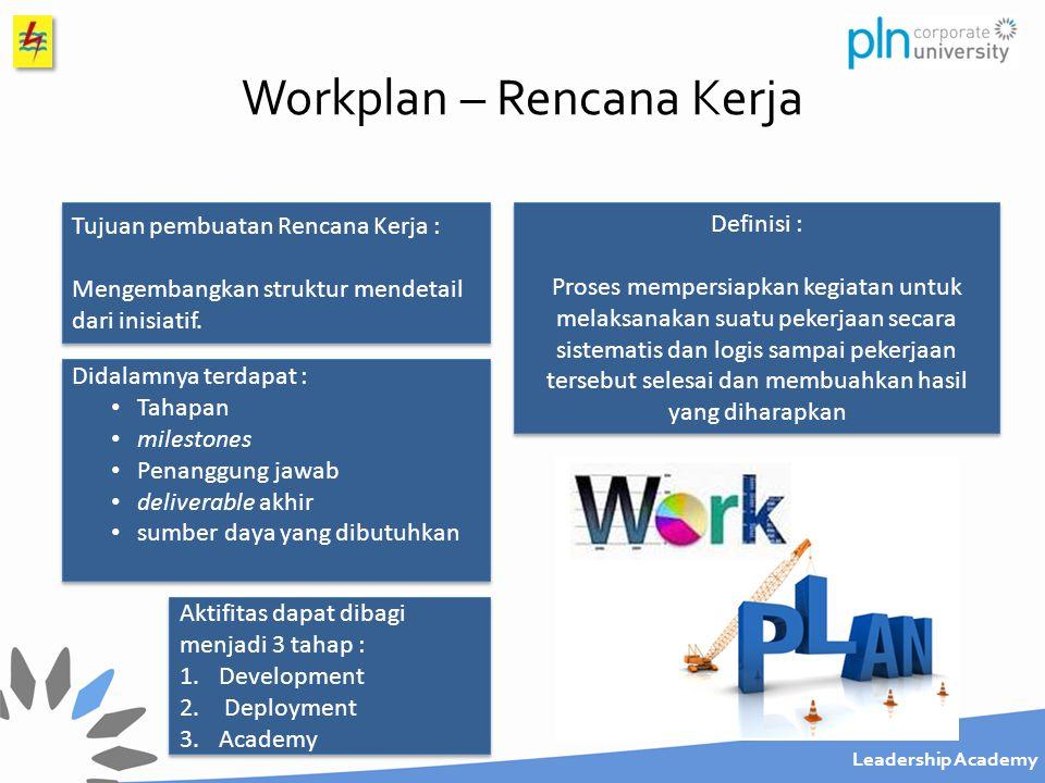 Leadership Academy Workplan - Penggantian APP Macet, Buram Dan Rusak Contoh - Workplan Kegiatan yang terkai dengan persiapan, perencanaan dan pengembangan (diatas meja) Kegiatan pelaksanaan inisiatif (action lapangan) Kegiatan evaluasi serta pembelajaran