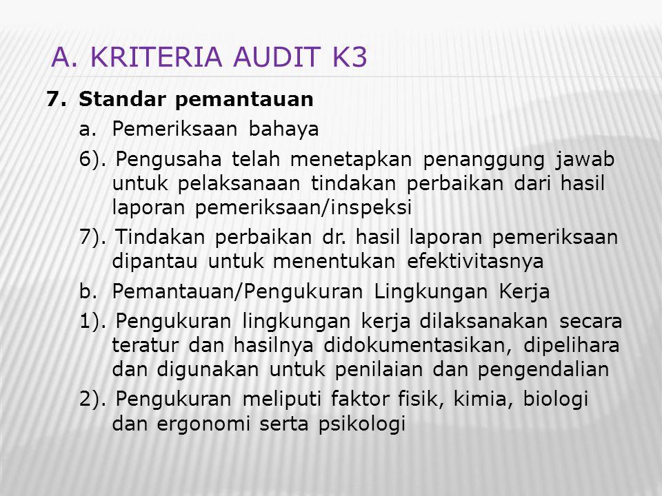 7.Standar pemantauan a.Pemeriksaan bahaya 6). Pengusaha telah menetapkan penanggung jawab untuk pelaksanaan tindakan perbaikan dari hasil laporan peme