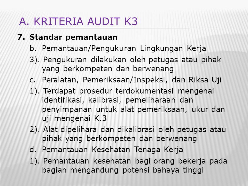 7.Standar pemantauan b.Pemantauan/Pengukuran Lingkungan Kerja 3). Pengukuran dilakukan oleh petugas atau pihak yang berkompeten dan berwenang c.Perala