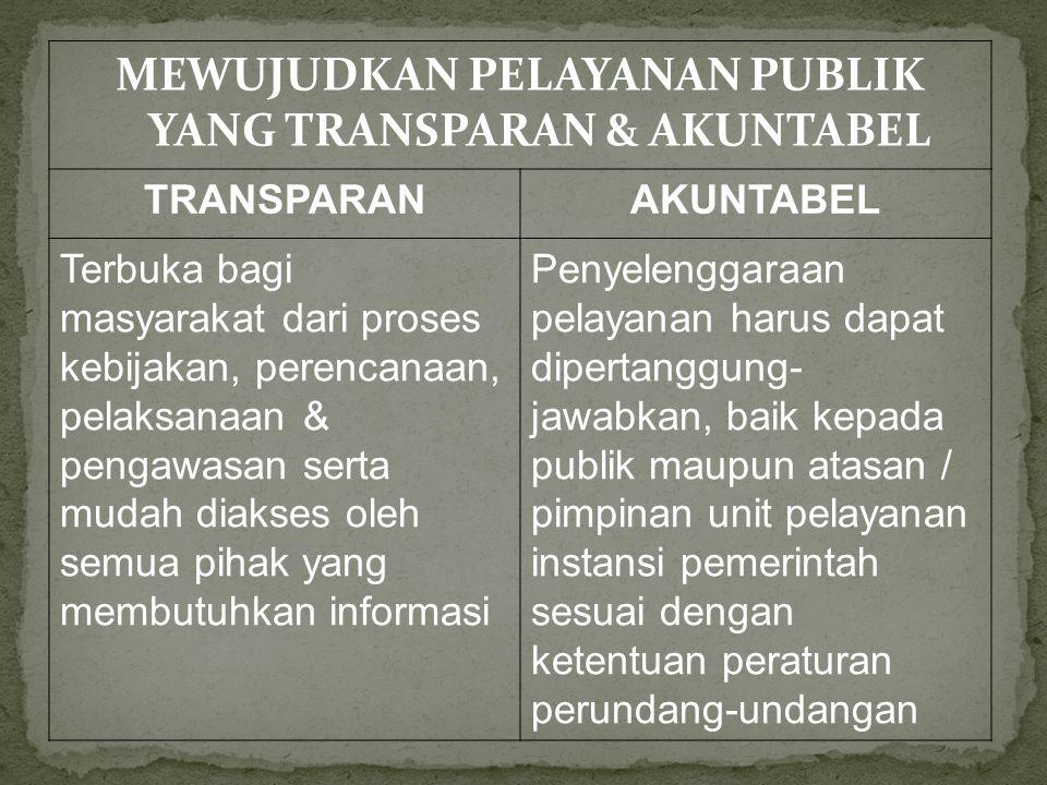 MEWUJUDKAN PELAYANAN PUBLIK YANG TRANSPARAN & AKUNTABEL TRANSPARANAKUNTABEL Terbuka bagi masyarakat dari proses kebijakan, perencanaan, pelaksanaan & pengawasan serta mudah diakses oleh semua pihak yang membutuhkan informasi Penyelenggaraan pelayanan harus dapat dipertanggung- jawabkan, baik kepada publik maupun atasan / pimpinan unit pelayanan instansi pemerintah sesuai dengan ketentuan peraturan perundang-undangan