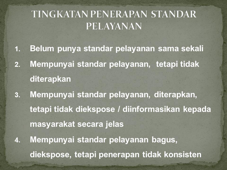 1.Belum punya standar pelayanan sama sekali 2.