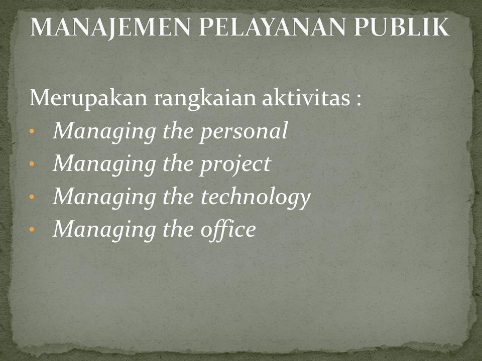 Merupakan rangkaian aktivitas : • Managing the personal • Managing the project • Managing the technology • Managing the office
